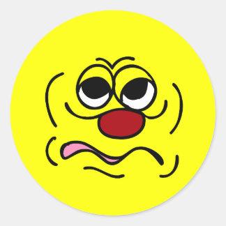 Sleepy Smiley Face Grumpey Classic Round Sticker
