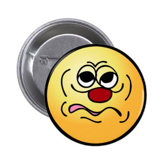 Sleepy Smiley Face Grumpey Pinback Button