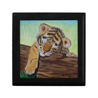 Sleepy Tiger cub Jewelry Box