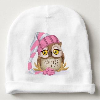 Sleepy Time Owl Baby Girl Baby Beanie