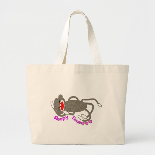 """Sleepy Time"" Sock Monkey Sleeping Large Tote Bag"