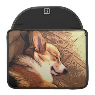 Sleepy Tricolor Corgi Sleeve For MacBook Pro