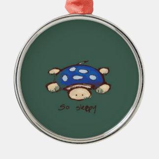 Sleepy Turtle Metal Ornament