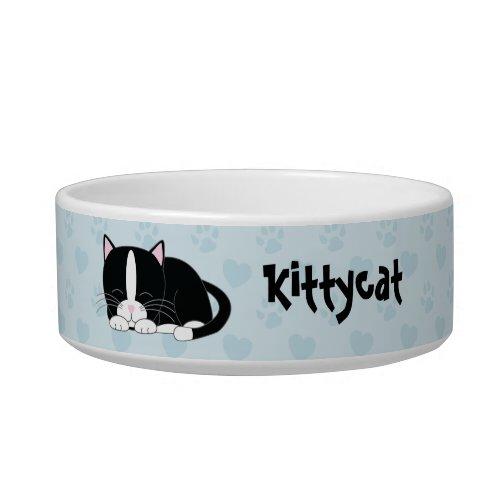Sleepy Tuxedo Cat blue Bowl
