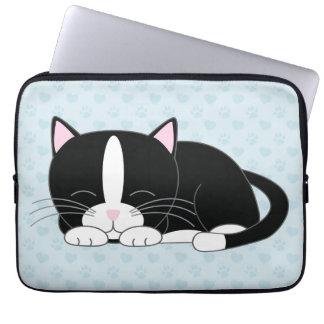 Sleepy Tuxedo Cat {blue} Laptop Sleeves
