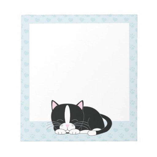 Sleepy Tuxedo Cat {blue} Note Pad