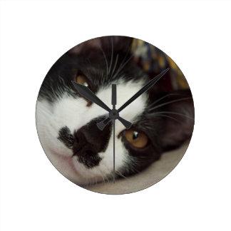 Sleepy Tuxedo Cat Round Wallclock