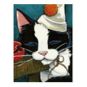 Sleepy Tuxedo Cat Clown Postcard