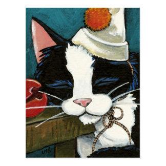 Sleepy Tuxedo Cat Clown Postcard