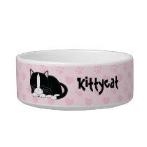 Sleepy Tuxedo Cat {pink} Bowl