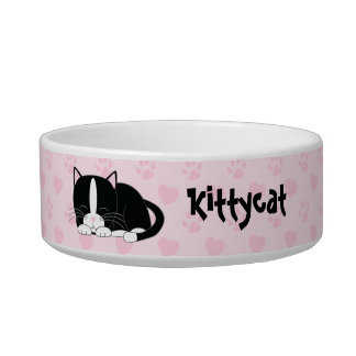 Sleepy Tuxedo Cat {pink} Cat Water Bowl