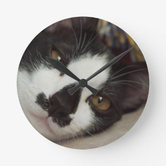 Sleepy Tuxedo Cat Round Clock