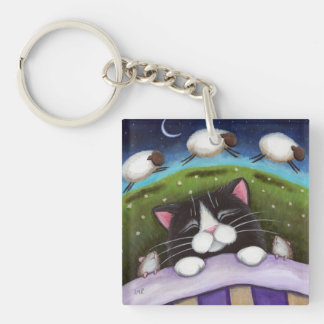 Sleepy Tuxedo Cat with Mice & Sheep | Fantasy Keychain