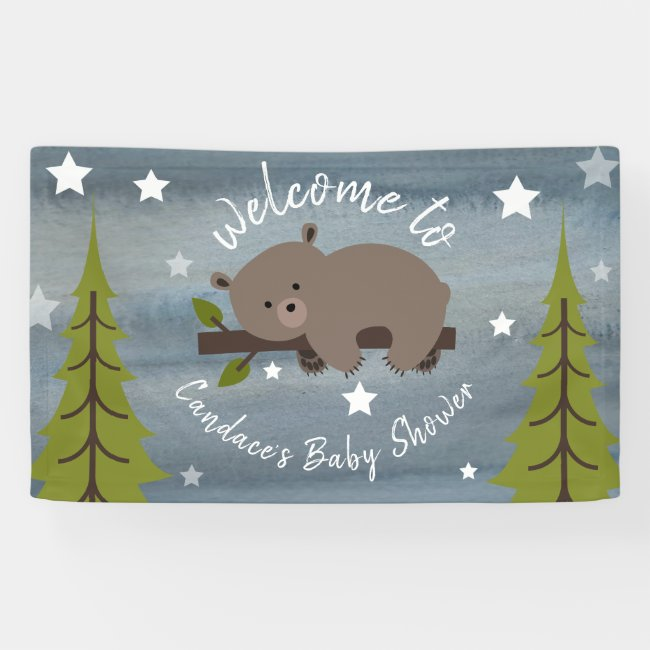 Sleepy Watercolor Bear Baby Shower Banner