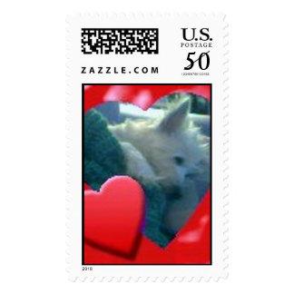 Sleepy Westie Heart Postage Stamp