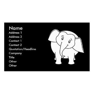 Sleepy White Elephant. Cartoon. Business Card