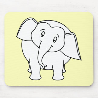 Sleepy White Elephant. Cartoon. Mouse Pad