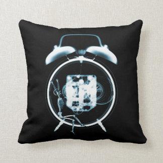 Sleepy X-Ray Skeleton on Alarm Clock - Blue Throw Pillow