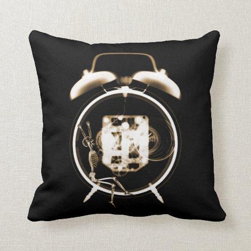 Sleepy X-Ray Skeleton on Alarm Clock -Orange Sepia Throw Pillow