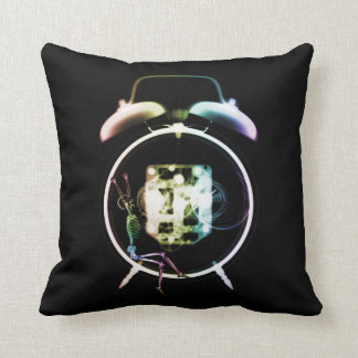 Sleepy X-Ray Skeleton on Alarm Clock - Rainbow Throw Pillow