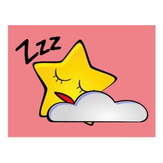 Sleepy Yellow Star Postcard
