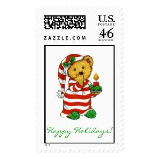 """Sleepytime Holiday Bear"" Postage"