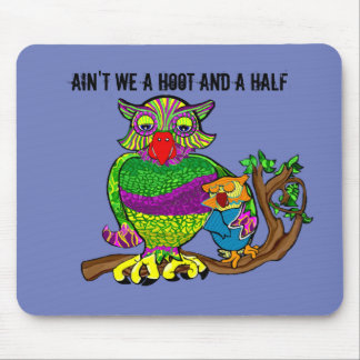 Sleepytime Owl and Baby Mouse Pad
