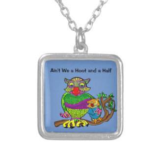 Sleepytime Owl and Baby Square Pendant Necklace