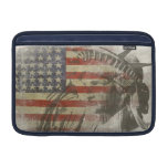 Sleeve with Statue of Liberty on Old American Flag Sleeves For MacBook Air