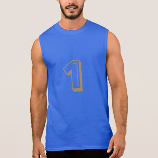 Sleeveless T-Shirt men with golden number one
