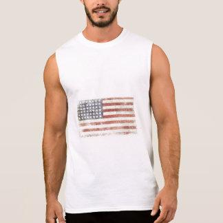 Sleeveless Tee with Cool USA Flag