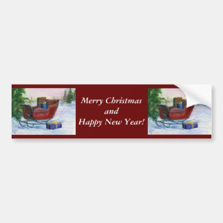 Sleigh ACEO Christmas Bumper Sticker