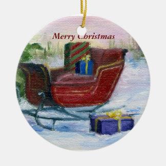 Sleigh ACEO Christmas Ornament