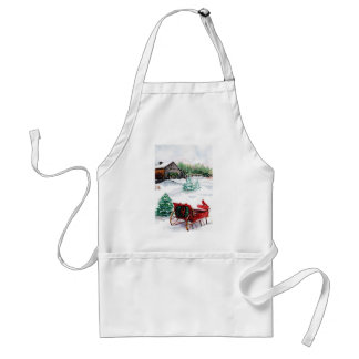 Sleigh and Red Robin Adult Apron