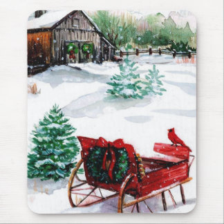 Sleigh and Red Robin Mouse Pad