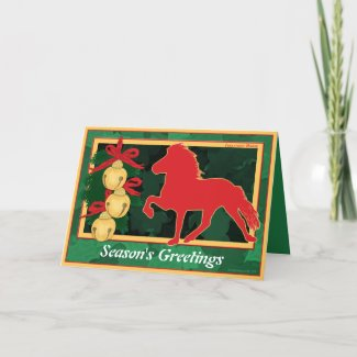 Icelandice Horse Christmas design featuring an Icey Horse silhouette and sleigh bells printed on beautiful Christmas cards