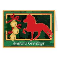 Sleigh Bells Icelandic Horse Christmas Greeting Card