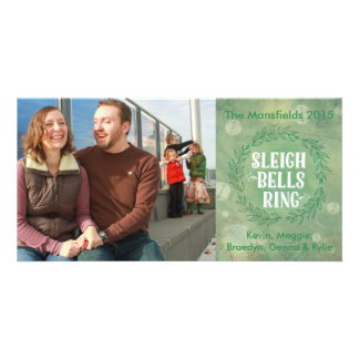 Sleigh Bells Ring- Green Photo Card Template