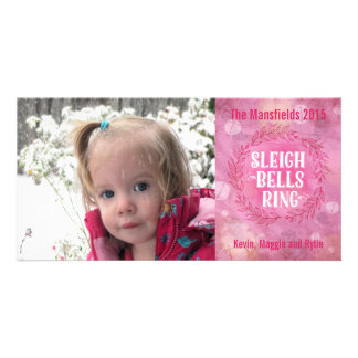 Sleigh Bells Ring- Pink Photo Card Template