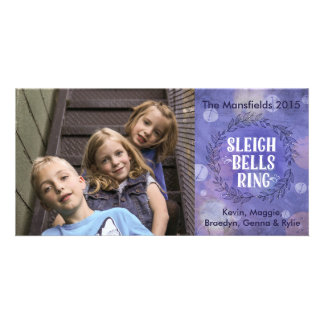 Sleigh Bells Ring- Purple Photo Card Template