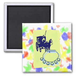 Sleigh Bells With Amish Buggy Musical Graphic 2 Inch Square Magnet