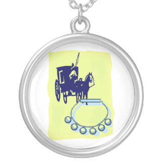 Sleigh Bells With Amish Buggy Musical Graphic Round Pendant Necklace