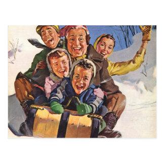 Sleigh Christmas Snow Fun Post Cards