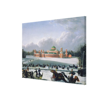 Sleigh Race at the Petrovsky Park in Moscow Canvas Print