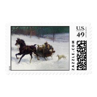 Sleigh Ride Borzoi Christmas Stamps