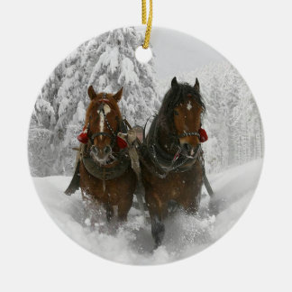 Sleigh Ride Ceramic Ornament