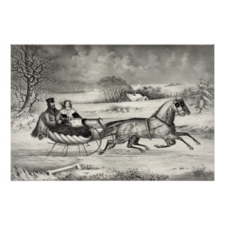 """""""Sleigh Ride"""" poster/print Poster"""