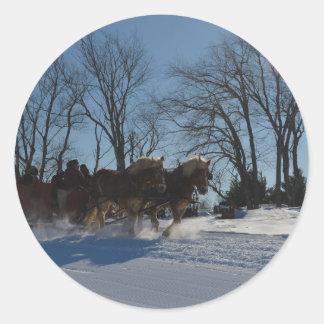 Sleigh ride Stowe Vermont Classic Round Sticker