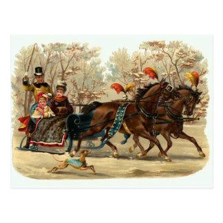 """""""Sleigh Ride"""" Vintage Christmas Postcard"""