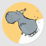 sleigh riding hippo classic round sticker